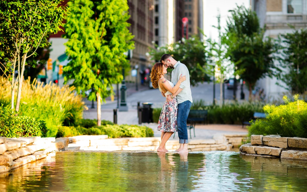 Ashley + Olaf | Downtown Tulsa and Centennial Park Engagement Session