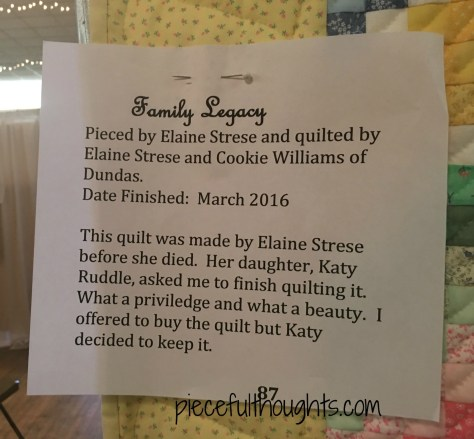 Family Legacy by Elaine Strese and Cookie Williams, Northfield Quilt Show 2017