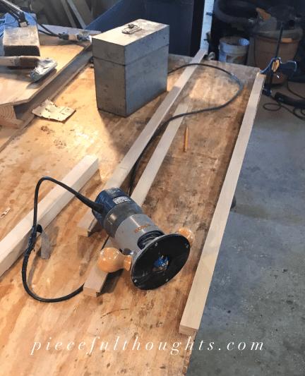 DIY Thread Holder - making the oak frame - piecefulthoughts.com