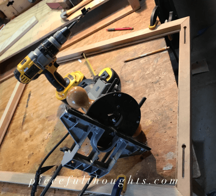 DIY Thread Holder - use a router to add mounting holes - piecefulthoughts.com