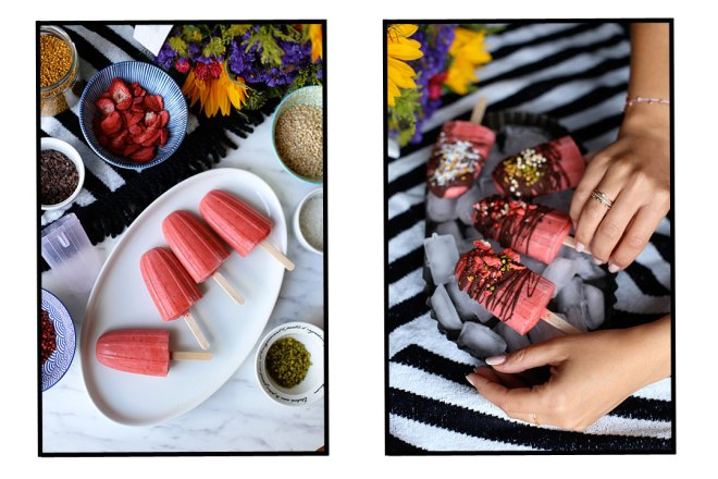 Erdbeer-Kokos-Popsicles Mit Schokoladenglasur