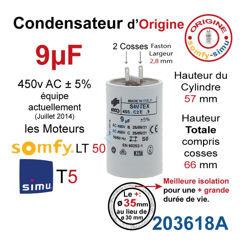 Simu 203618a Condensateur D Origine Pour Moteur Tubulaire Simu Ou Somfy A Cosses Faston 2 8 Mm Capacite 9µf 5 400 450v