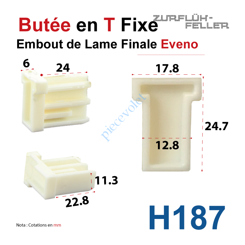 Eveno Fermetures H187 Embout Butee En T Fixe De Lame Finale Eveno De 6 Mm D Epaisseur X 25 Mm De Haut