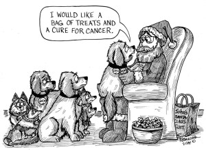 Santa & Dog - Cure Cancer