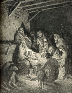 The Nativity, by Gustav Dore. In modern images, the light in the stable tends to come from the star. Traditionally, the light came from Christ, the true Light of the world.