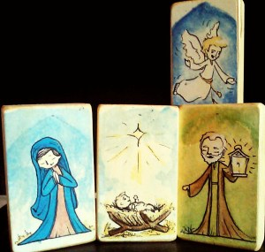Especially keep your nativity sets up! This beautiful (and reasonably-priced) children's set is going to be available soon, along with any Saint you can imagine, on wooden blocks perfect for play. I'll tell you guys all about it soon!