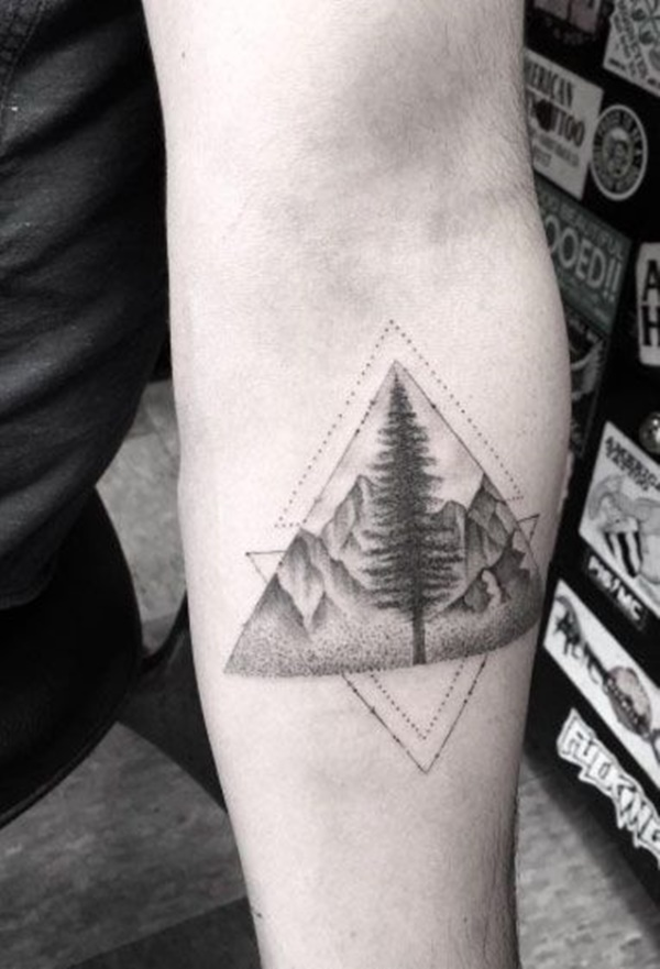 90 Clean Looking Glyph Tattoo Examples That Hold Personal Meaning Duality with multiple triangles