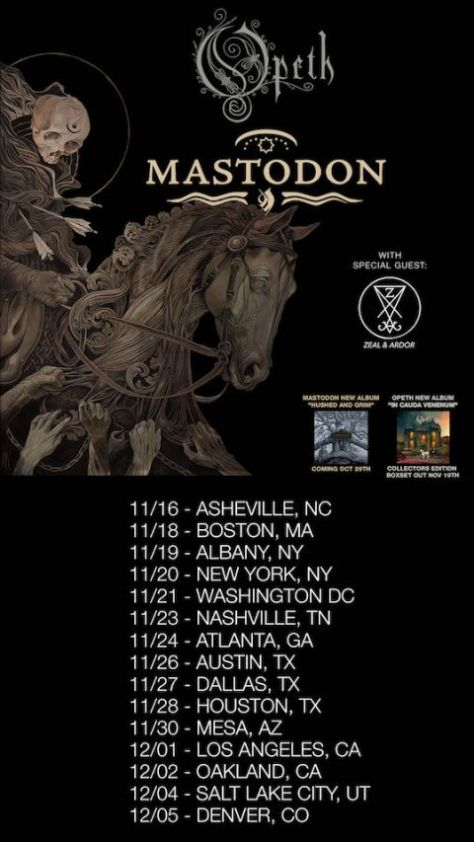 tour posters, promotional posters, opeth, mastodon