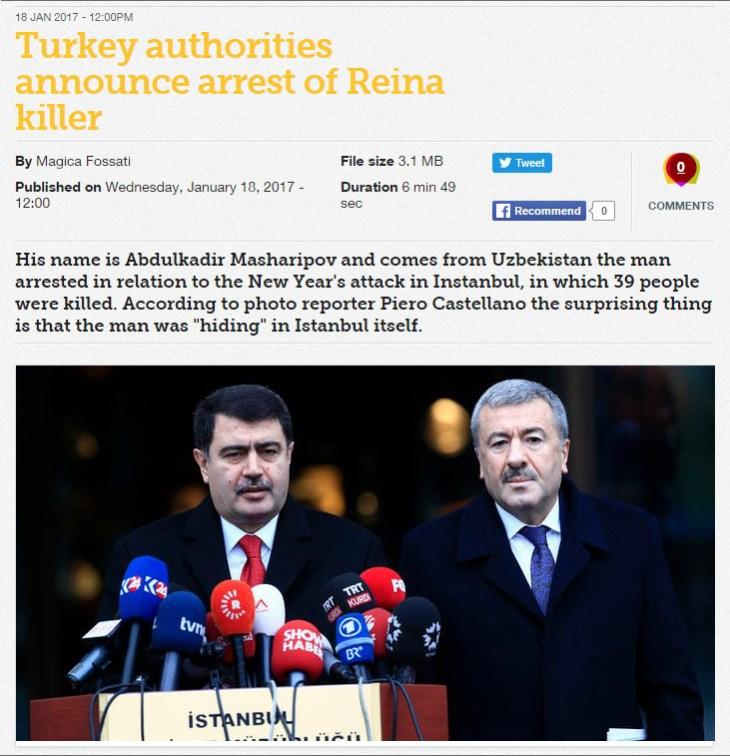 Turkey authorities announce arrest of Reina killer