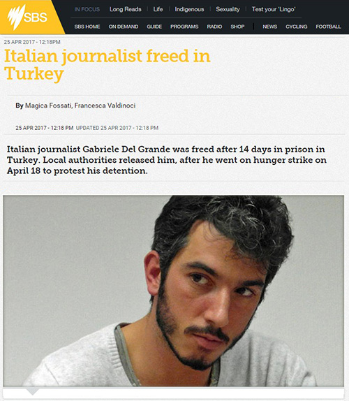 Italian journalist freed in Turkey