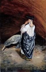 Presagio di vendetta, 1999 acrilico su cartone, cm 28 x 20 collezione privata