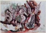 Visione di Gabriele, 1999 inchiostri, penna e acquarello su carta pergamena, cm 100 x 70