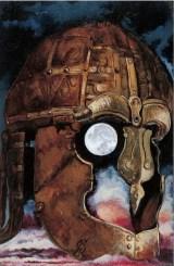 Testa armata, 1999 acrilico su cartone, cm 18 x 13 collezione privata, Milano