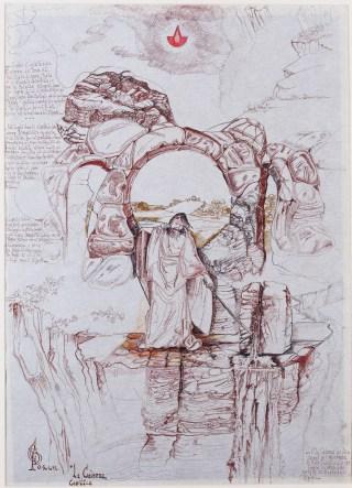 Visone della Caverna Cosmica, 1999 inchiostri, penna e acquarello su carta pergamena, 100 x 70