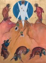 La Trasfi gurazione, 1982 tempera e oro zecchino su tavola, cm 125 x 162 collezione privata