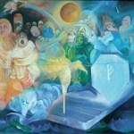 La ricerca della Sacra Pietra, 1978 tempera e olio su tela, cm 400 x 250 collezione privata