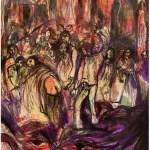 La Morte, i suoi mille volti e il Santo, 1987 inchiostri e acquarello su carta di riso, cm.60x47 collezione privata