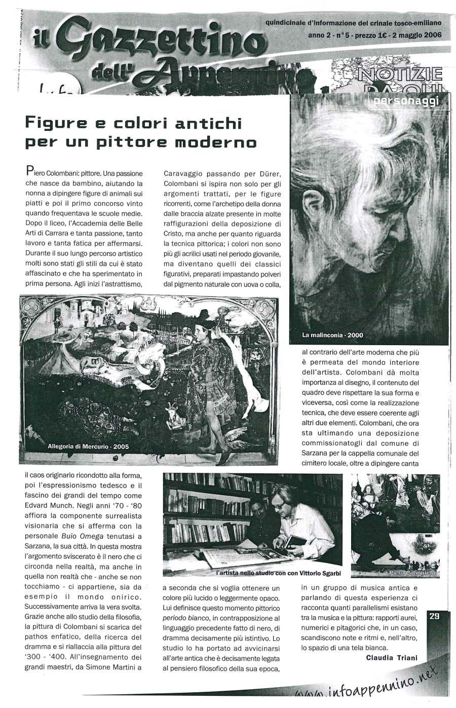 Figure e colori antichi per un pittore moderno Articolo del 2 maggio 2006
