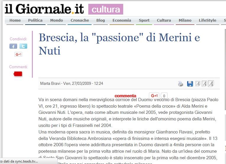 Il giornale Cultura Brescia merini e colombani