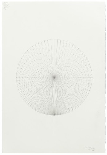 """Mark Reynolds - """"Circle Series: Thales Precursor, 1.17.19,"""" 2019, Graphite on cotton paper, 22 x 15 inches"""
