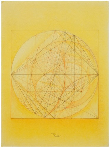 """Mark Reynolds - """"Thales Series: ATROTW, Golden Section Family, 9.04,"""" 2004, Pastel and colored pencil on cotton paper, 15 x 11 inches"""