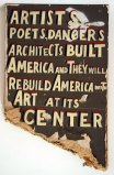 Artists, Poets, Dancers and Architects - 2011, enamel on found material, approx. 37 x 23.5 x 2 inches