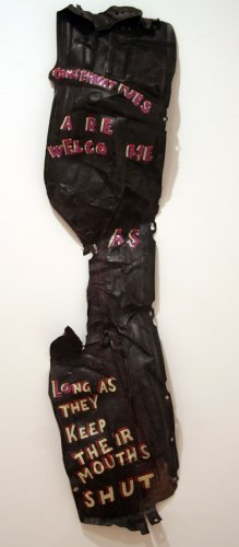 Conservatives Are Welcome - 2011, enamel on found material, approx. 64 x 14 x 3 inches