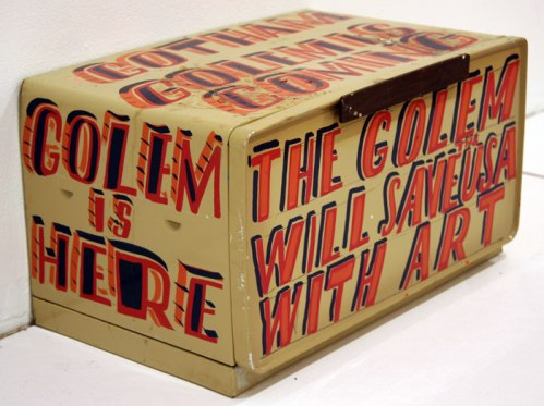 The Golem - 2011, enamel on found material, 17.5 x 10 x 10 inches