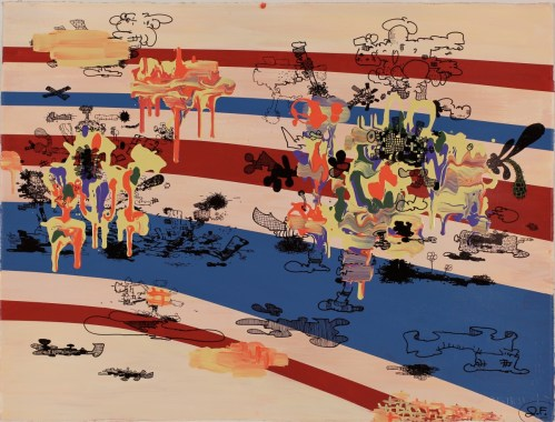Future 86 - 2011, acrylic and ink on paper, 22 x 30 inches