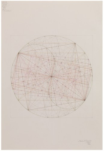 """Mark Reynolds - """"Thales Series: ATROTW, Sq. Rt. 2 and the Roots, I, 3.19,"""" 2019, Graphite and colored pencil on cotton paper, 22 x 15 inches"""