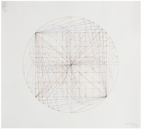 "Mark Reynolds - ""Thales Series: ATROTW, The 1.111, Rt. Two and Rt. Phi Families, 5.19,"" 2019, Graphite and ink on cotton paper, 20 x 22 inches"