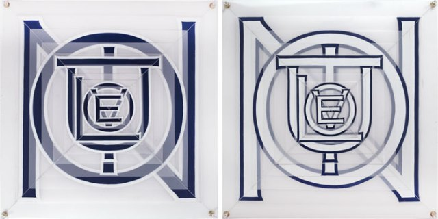 "Joe Amrhein, ""Evolution (diptych),"" 2014, Enamel and thread on mylar with metal grommets, 21 x 21 inches each"