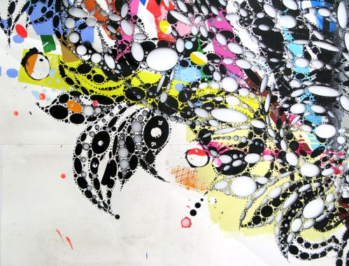 """Reed Anderson - """"Happy Turn Of New York"""" (detail), 2012-13, acrylic, spray paint, collage on cut paper, 84 x 76 inches"""
