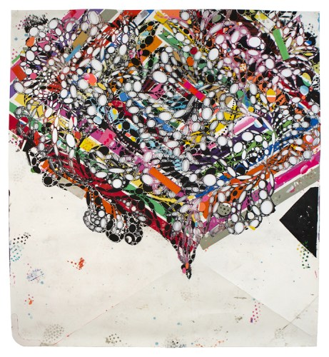 Harvey Love Muscle - 2013, Acrylic and collage on cut paper, 40.5 x 38.75 inches