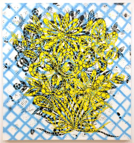 """Reed Anderson - """"Hello Yellow,"""" 2017-18, Acrylic on cut paper mounted on fashion, 72 x 67 inches"""