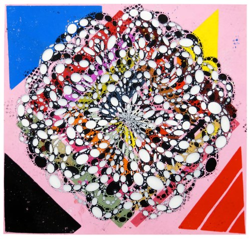 """Reed Anderson - """"Strange Love,"""" 2013-2014, Acrylic and collage on cut paper, 34 x 36 inches. Sold"""