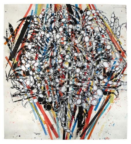 """Reed Anderson - """"We're It! Fu Manchu!,"""" 2013, Acrylic & collage on cut paper, 72 x 66 inches"""