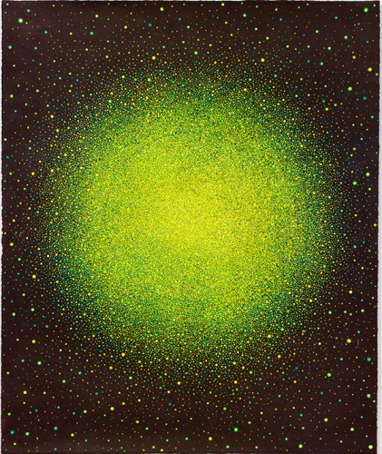 """Karen Arm - """"Untitled (Yellow Green Sun,"""" 2014, Watercolor on paper, 18.125 x 15.125 inches. Courtesy of PPOW."""
