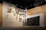 """Dawn Clements - """"Boiler,"""" 2010, Sumi ink on paper, Approximately 217 x 460 inches. Installation view at The Boiler"""