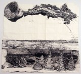 Dawn Clements - Marc Leuthold's Sculptures (Branch, pagodas, bowls, horn and spool), 2011, sumi ink on paper, 72 x 79.5 inches