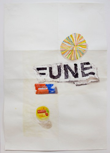 """Dawn Clements - """"Carmex, Swingline, FUNE and paper,"""" 2015, Watercolor on paper, 41.75 x 28.5 inches"""