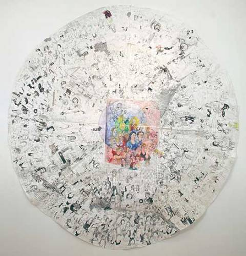 """Dawn Clements - """"Color Oval,"""" 2007, Ballpoint Pen Ink and Gouache on Paper, 108 x 98 inches"""