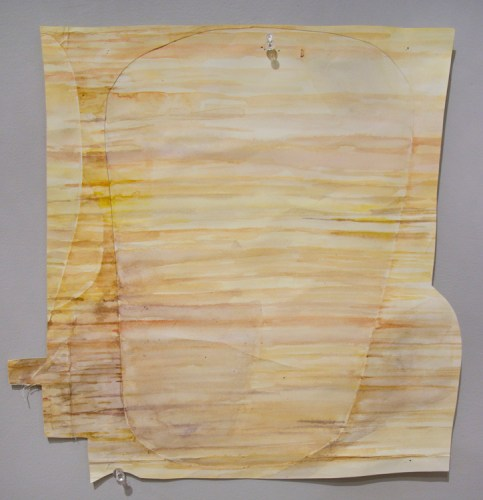 """Dawn Clements - """"Cut-out from MacDowell Table,"""" 2015, Watercolor on paper, 14 x 14 inches"""
