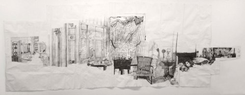 "Dawn Clements - ""Mrs. Jessica Drummond's (My Reputation, 1946),"" 2010, Ballpoint Pen Ink on Paper, Approximately 87.5 x 240 inches"