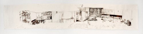 """Dawn Clements - """"Jessica Drummond's, Kitchen,"""" 2011-2015, Ballpoint pen ink on paper, Approx. 112 x 21 inches"""