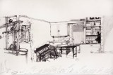 """Dawn Clements - """"Jessica Drummond's Kitchen (My Reputation, 1946), Detail, 2011-2015, Ballpoint pen ink on paper, Approx. 112 x 21 inches"""