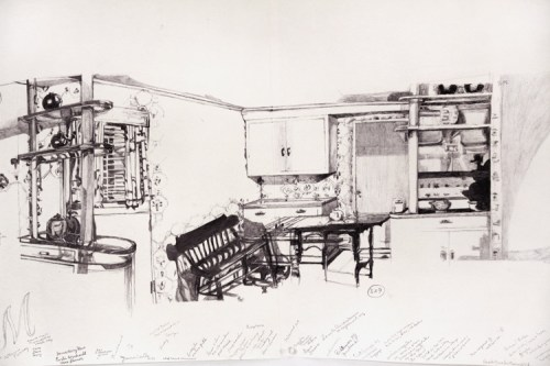 "Dawn Clements - ""Jessica Drummond's Kitchen (My Reputation, 1946), Detail, 2011-2015, Ballpoint pen ink on paper, Approx. 112 x 21 inches"