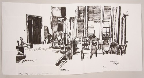 """Dawn Clements - """"Anna's (L'angelo bianco, 1955),"""" 2016, Sumi ink on paper"""