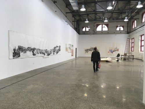 Dawn Clements - Installation in progress at Mana Contemporary NJ, May 2021