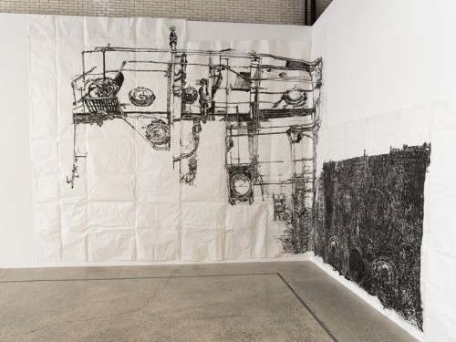 """Dawn Clements - """"Boiler,"""" 2010, Sumi ink on paper, Approximately 217 x 460 inches Mana Contemporary NJ Installation View, May 2021 Photo: John Berens"""